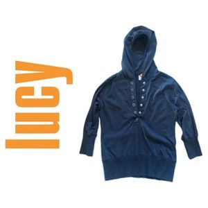 Lucy 3/4 Sleeve Top with Snap Buttons & Hood